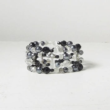 Black Gray White Beaded Stacked Bracelet Cuff Hippie Jewelry Elastic Lightweight Plastic Beads Bohemian Hippie Beach Style