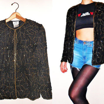 Black & Gold Beaded Sequin Silk Jacket Small