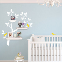 Children Wall Decal - Tree Branch Decal with Birds for Shelving - Shelf Organizer - Baby Nursery Wall Decor - Tree Wall Decals