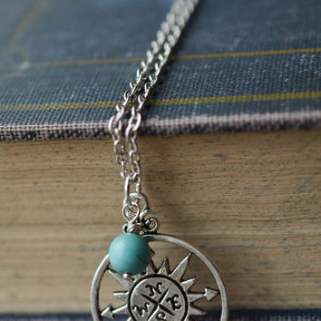 Compass Necklace, Wanderlust Necklace, Gypsy Jewelry, Turquoise Compass Pendant, Boho Necklace