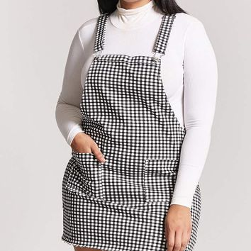 Plus Size Gingham Overall Dress