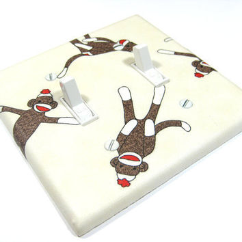 Cream Sock Monkey Double Light Switch Cover by ModernSwitch