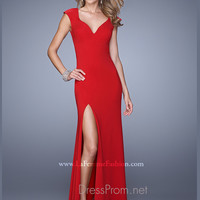 Cap Sleeve La Femme Open Back Prom Dress 21169