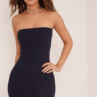 Layala Navy Split Detail Bandeau Bodycon Dress