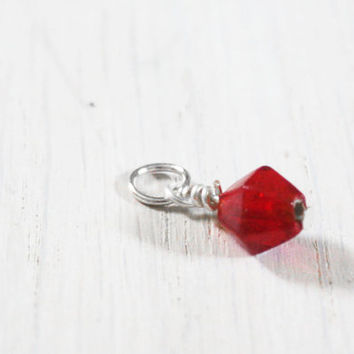 Red Glass Bead Charm - vintage geometric geo beaded charm triangle - design your necklace - build your own customized jewelry