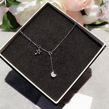 womens simple style snowflake Stars Moon necklace gift 47