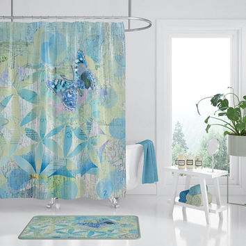 Butterfly Blue fabric Shower Curtain - Butterflies, pattern, unique, botanical floral