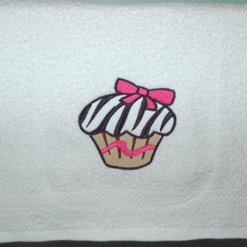 Hand Towel CUP CAKE Design- Luxury White Cotton