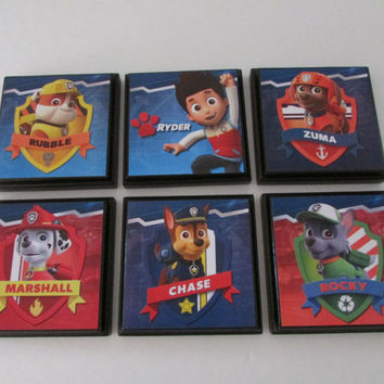 Paw Patrol Kids Room Wall Plaques - Set of 6 Paw Patrol Room Decor - Marshall Rubble Zuma Rocky Chase Room Signs