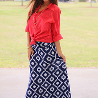 Native Center Maxi Skirt, Navy