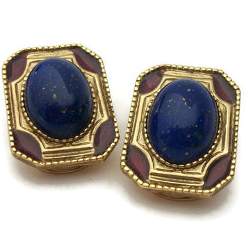 Vintage 1928 Jewelry Company Clip On Earrings - Speckled Navy Blue Cabochon Red Enamel Gold Tone - Big Large Rectangular Clip Earrings