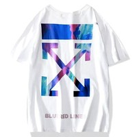 OFF-WHITE 2019 new gradient color arrow round neck half sleeve T-shirt white