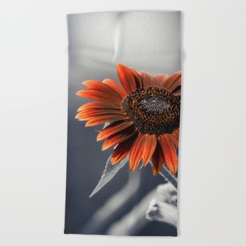 Dark Sunflower Beach Towel by Cinema4design
