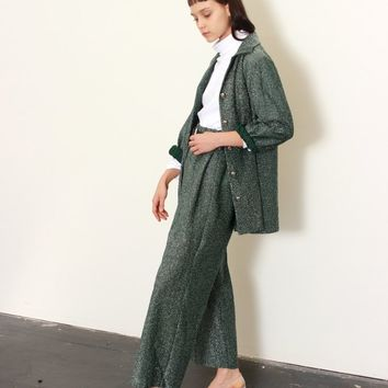 70s Green Shimmer Pant Suit / S M L