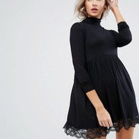 ASOS PETITE Turtleneck Skater Dress With Lace Hem at asos.com