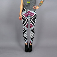 All over Print Abstract Geometric Print Leggings in White Black n Purple-  MADE To ORDER