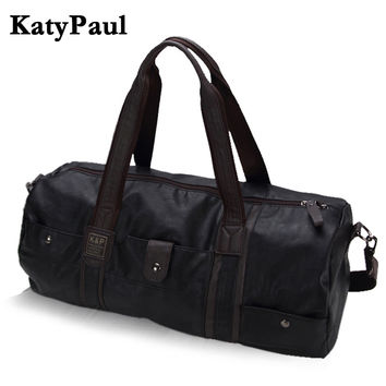 Men Vintage Retro Leather Travel Bags Hand Luggage Overnight Bag Fashionable Designers Large Duffle Bags Weekend Bag