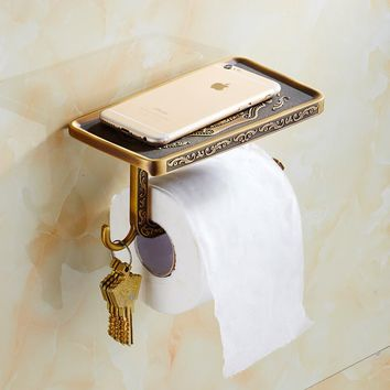 Patty Carved Antique Toilet Paper Holder With Multi-functional Mobile Phone Rack Paper Holder