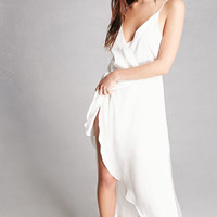 Satin Asymmetrical Wrap Dress
