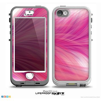 The Abstract Pink Flowing Feather Skin for the iPhone 5-5s NUUD LifeProof Case for the LifeProof Skin