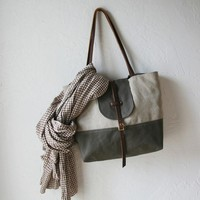 2Tone Tote in Hemp and Olive by infusion on Etsy