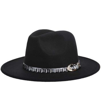 Wool Jazz Hats Large Brim Felt Cloche Cowboy Panama Fedora Hat For Women Black Trilby Derby Burgundy Red Fedora Hat With Belt