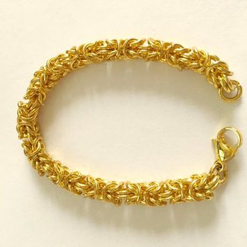 "Vintage Stainless Steel, Gold Washed Vermeil Byzantine Bracelet 8"" Lobster Claw Clasp Bracelet, Classic Byzantine, Everyday Jewelry"