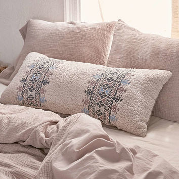 Nadia Sherpa Embroidered Body Pillow - Urban Outfitters