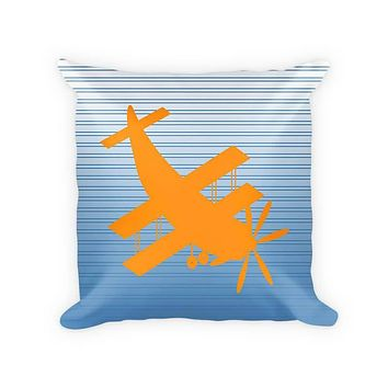 Biplane Aircraft Children's Woven Cotton Throw Pillow