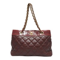 CHANEL Chain Shoulder Bag Quilted Leather Wine Red