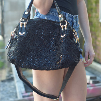 Fashion Handbag with Faux Leather and Lace {Black}