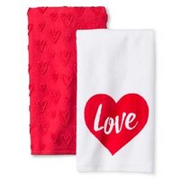 Valentine's Terry Kitchen Towel (2 Pk) White/Red