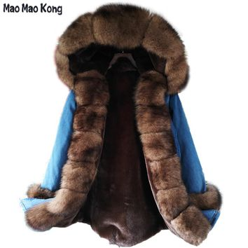 2017 winter jacket women new long parka real fur coat big raccoon fur fox fur collar hooded parkas thick outerwear stree style
