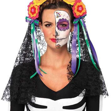 Leg Avenue Female Day Of The Dead Flower Headband With Lace Veil A2726