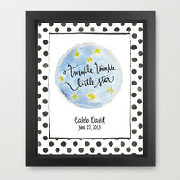 Twinkle Twinkle Little Star - Personalized Nursery Childrens 11x14 Art Print