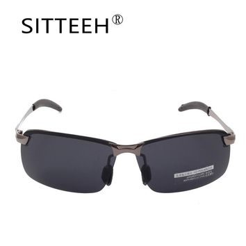 SITTEEH Sun glasses Metal Driving polarized sunglasses for men Brand design Night vision goggles vintage half-frame mirror SI331