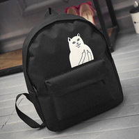Women's Canvas Teenage Girls School Bags Cartoon Cat Female Travel Bag RIPNDIP Black Backpack