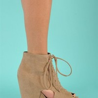 Block Wedge Cut Out - Taupe at Necessary Clothing