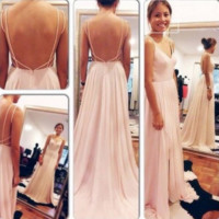 Spaghetti Straps Open Back Long Prom Dresses