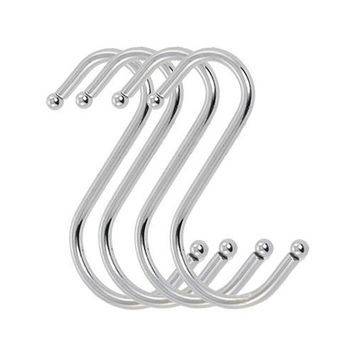 FJS 4Pcs Scarf Apparel Punch Cup Bowl S Shaped Metal Hooks Hangers