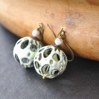 Cream Enameled Filagree Earrings - Metal Bead Earrings - Dangle Earrings