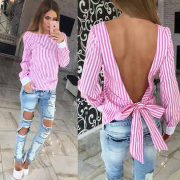 Kimono Striped S-XL Bow Women Blouses Summer Long Sleeve Blusas Vintage Backless Women Tops OL Plus Size Women Clothing Camisas