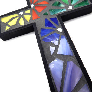 Mosaic Wall Cross, Funky Floral Black + Rainbow Handmade Stained Glass Mosaic Design