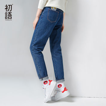 Toyouth 2017 Autumn Winter New Character Appliques Jeans Full Straight Pants Jeans All Match Trousers