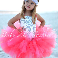 Coral and Silver Damask  Flower Girl Dress, Wedding Flower Girl  Dress, Tutu Dress Baby to Girls 9-10