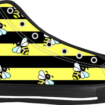 Wasp stripes and wasps black high top sneakers, thick stripes themed shoes