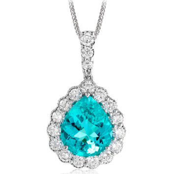 Simon G. Large Teardrop Paraiba Tourmaline Halo Diamond Pendant