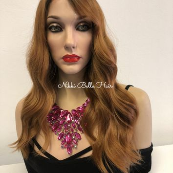 Brown Ombré Swiss Lace Front Wig | Loose Wave Volume Hair| Cathy