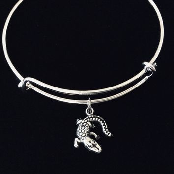 Alligator Silver Expandable Charm Bracelet Adjustable Bangle One Size Fits All Gift Crocodile