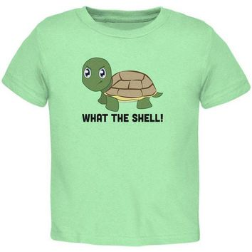 DCCKJY1 Turtle What The Shell Funny Pun Cute Toddler T Shirt